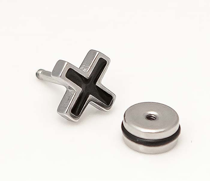 ER467-1 Мужские серьги кресты, винт фото 04
