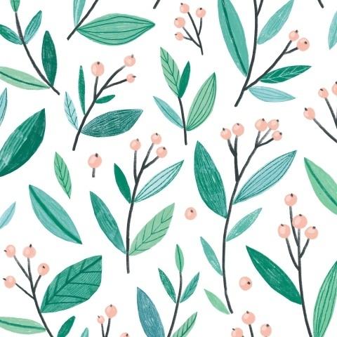 Зеленая листва и ягоды