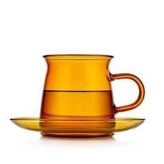 Чайная пара из цветного стекла, желтая - чашка 200 мл с блюдцем в скандинавском стиле Teastar