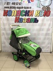 Санки коляски GALAXY CITY 1-1 с надувными колёсами «зелёный с совой»
