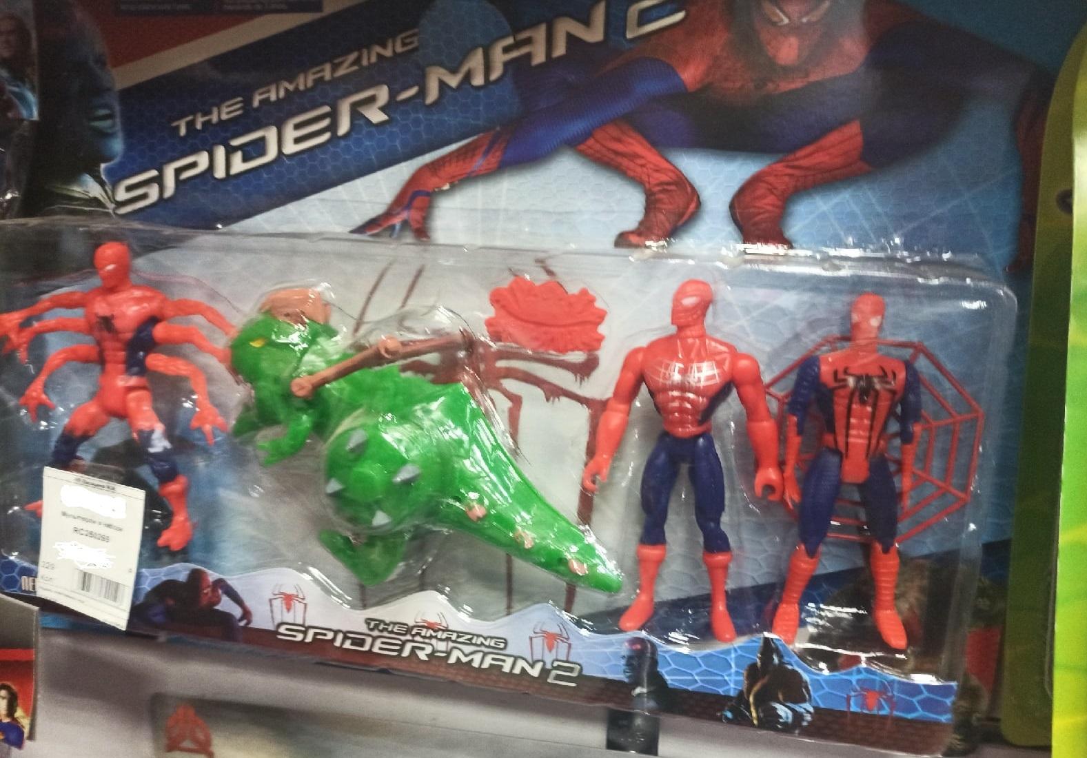 Набор 3 человека паука и динозавр 15 см