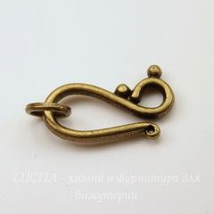 Замок - крючок из 2х частей 24х12 мм (цвет - античная бронза)
