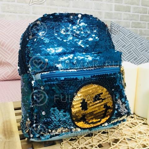 Рюкзак с двусторонними пайетками нашивкой Смайлик меняет цвет Голубой-Серебристый
