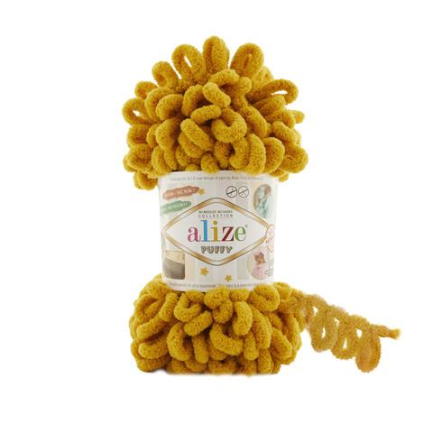 Купить Пряжа Alize Puffy Код цвета 02 Шафран | Интернет-магазин пряжи «Пряха»
