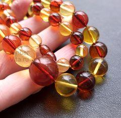 бусы шары из прозрачного янтаря