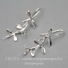 Швензы - крючки с подвеской - веточкой, 41х17 мм (цвет - серебро), пара