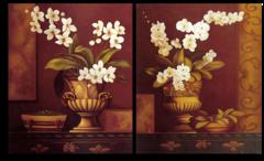 """Модульная картина """"Цветы в золотой вазе"""""""