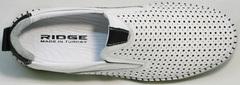 Модные слипоны мокасины мужские лето Ridge Z-441 White Black.