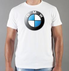 Футболка с принтом BMW (БМВ) белая 003
