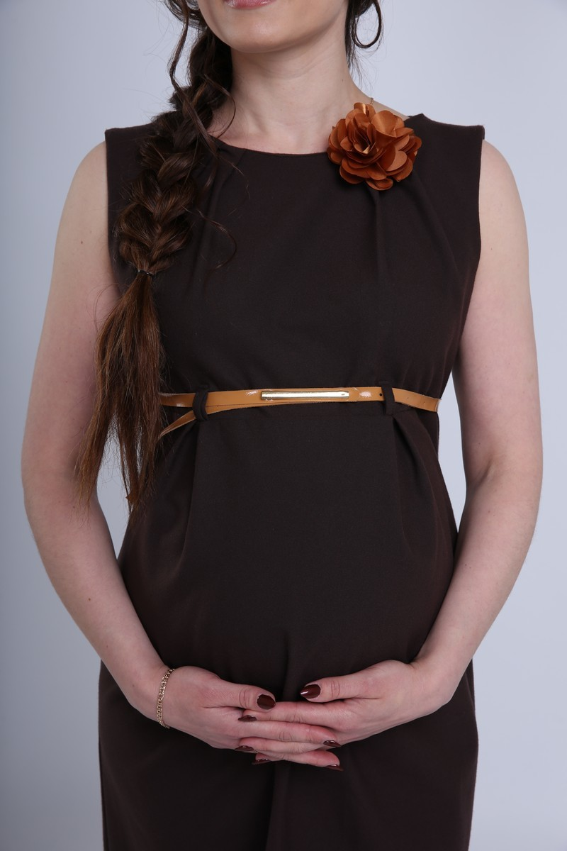 Фото платье для беременных Mama i Ja от магазина СкороМама, прямое, коричневый, размеры.