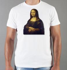 Футболка с принтом  Да Винчи/ Мона Лиза (Леонардо Leonardo da Vinci) белая 003