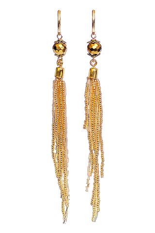 Серьги-каскад бисерные золотистые