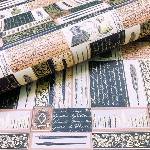 Бумага подарочная декоративная Чернильница и перья