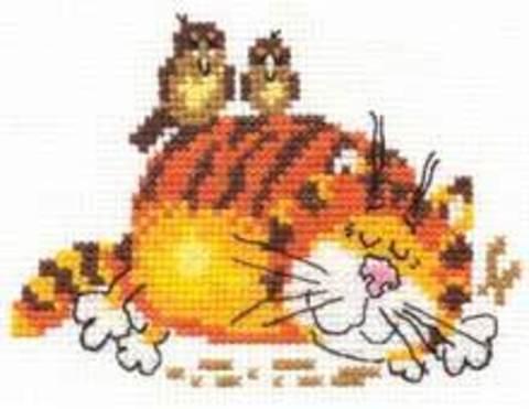 Ленивый кот¶Размер: 11х9 см¶Кол-во цветов: 9