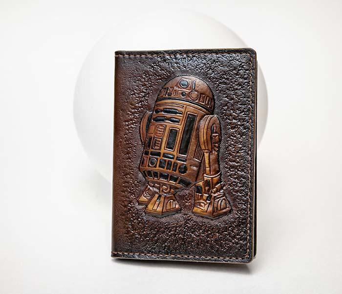 BC225 Обложка на паспорт «Звездные Войны. R2D2» ручной работы фото 02