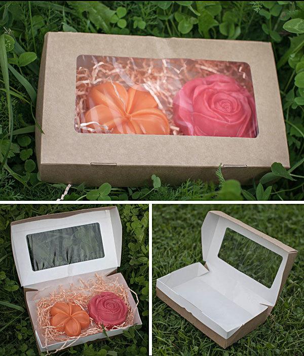 Коробка для мыла ЭКО-крафт с окошком 20х12х4 см