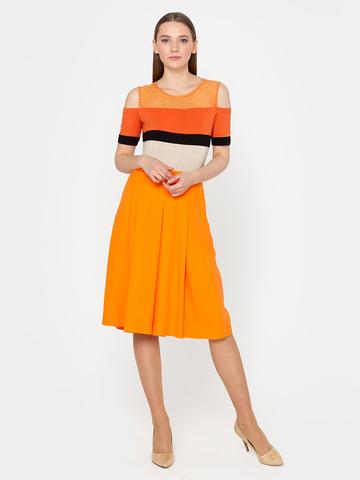 Фото оранжевая расклешенная юбка в складку из вискозы - Юбка Б031-397 (1)