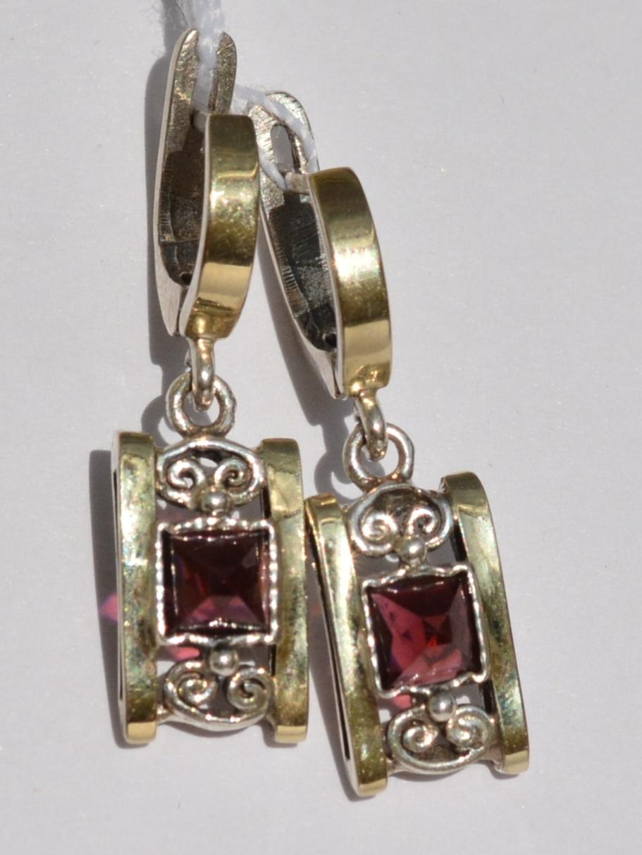 Гранат 2613А (серьги из серебра/золота)