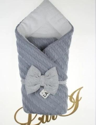Вязаный конверт одеяло Дуэт 2 (серый)