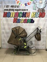 Санки-коляска Galaxy Snow Kids-3-2-Т крупный ромб (бронза)