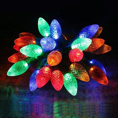 LED разноцветные гирлянды шарики шишки