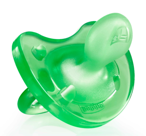 Chicco. Пустышка силиконовая Physio Soft 0+, зеленая