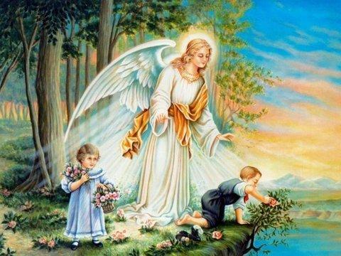 Картина раскраска по номерам 30x40 Ангел оберегает детей на прогулке (арт.HZM019)