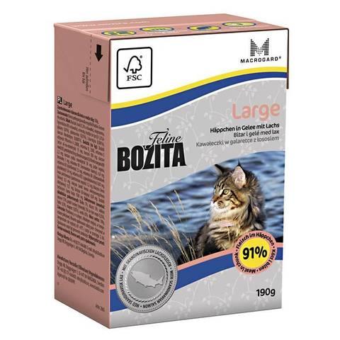 BOZITA Feline Funktion large консервы для кошек крупных пород (кусочки в желе с лососем) 190г