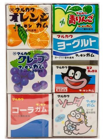 Жевательная резинка Marukawa Ассорти из 7 вкусов (апельсин, виноград, кола, зеленое яблоко, йогурт, клубника, садовая) 36,6 гр.