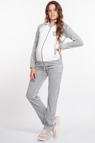 Спортивный костюм для беременных и кормящих 10051 серый меланж/белый