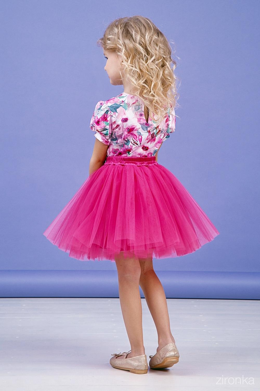 Комплект (блузка, юбка) малиновый для девочки 64-9003-4
