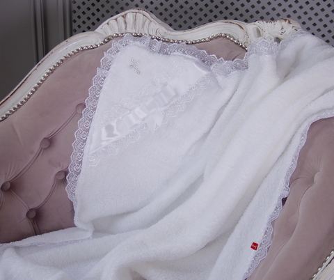 Крыжма для крестин и мешочек для волос (белая с серебряным крестиком)