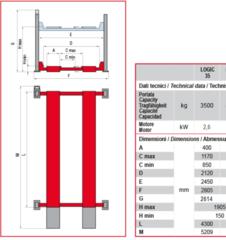 Схема. Подъёмник четырехстоечный BUTLER Logic 35 (Италия). Грузоподъёмность 3,5 т. Для легкового автосервиса.