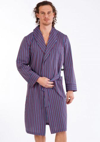 Тонкий мужской халат из натурального хлопка в полоску с запахом