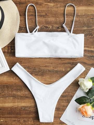 купальник белый бандо раздельный с лямочками трусики бразильяно 2