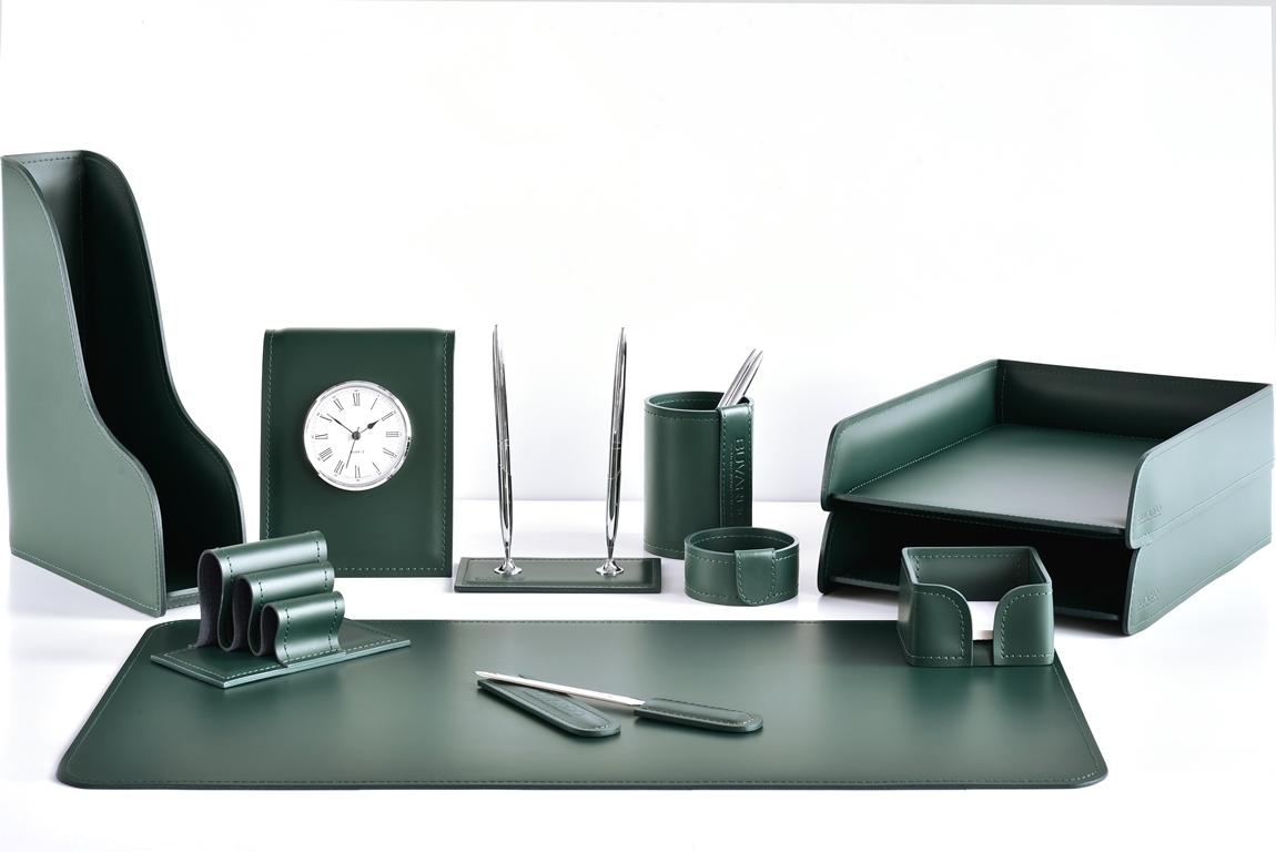 зеленый набор на стол из кожи  часами для руководителя