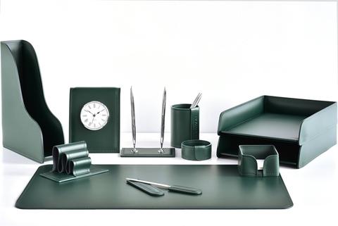 Настольный набор для руководителя 11 предметов из кожи цвет зеленый