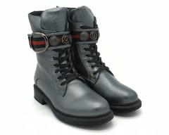 Серебряные ботинки на высокой шнуровке