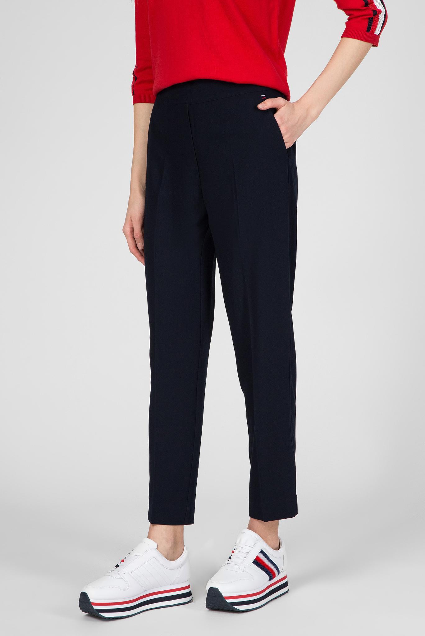 Женские темно-синие брюки TH ESS POLY TWILL TAPERED Tommy Hilfiger
