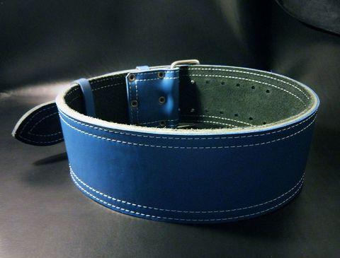 3-х слойный пояс для пауэрлифтинга с удобной пряжкой-зацепом (синий) вид сзади