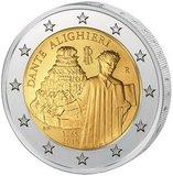 Италия 2015 год 2 евро 750 лет Данте Алигьери UNC из ролла