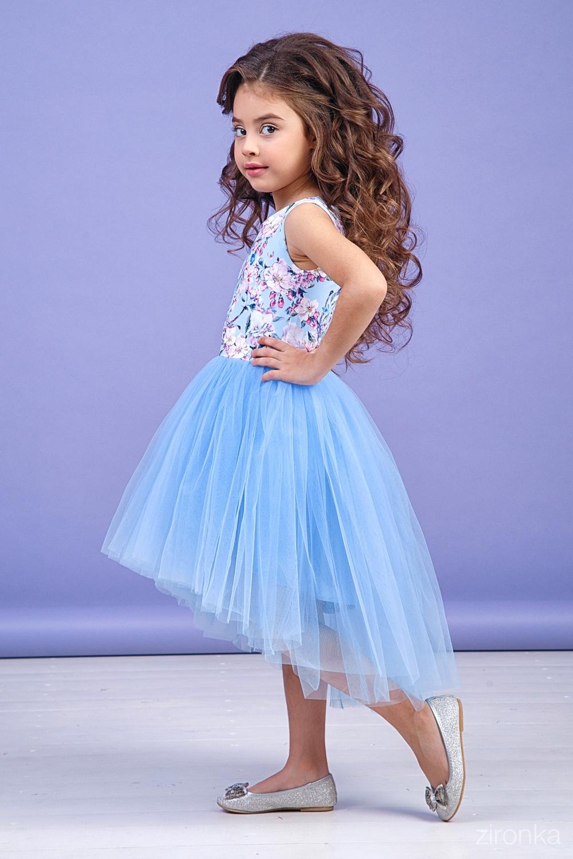 Платье голубое для девочки 38-9004-2