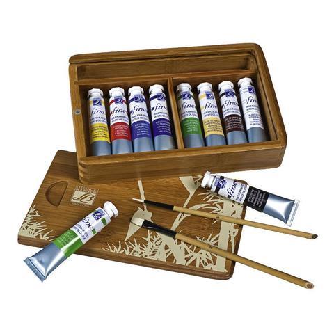Набор масляных красок Lefranc&Bourgeois FINE HUILE «NATURA» в бамбуковом ящике (10 х 20 мл)