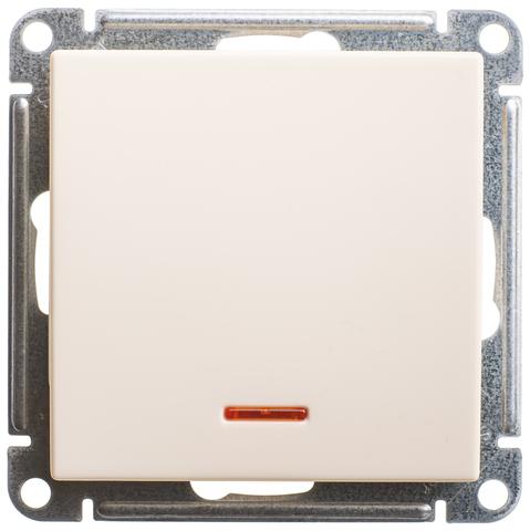 Выключатель одноклавишный с подсветкой, 16АХ. Цвет Слоновая кость. Schneider Electric Wessen 59. VS116-153-2-86