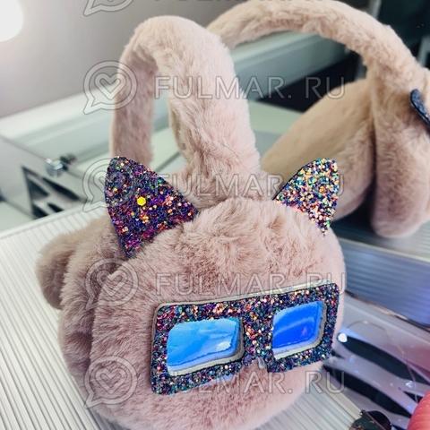 Ободок на уши Плюшевый с блёстками Котик в очках (цвет: Пудровый)