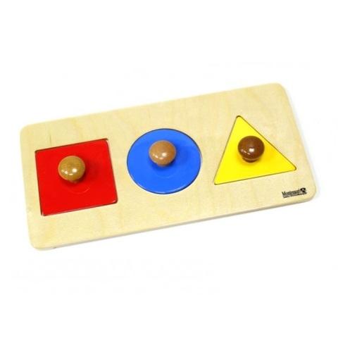 7.11.4 Геометрические пазлы: квадрат, круг, треугольник на подставке Монтессори-Питер