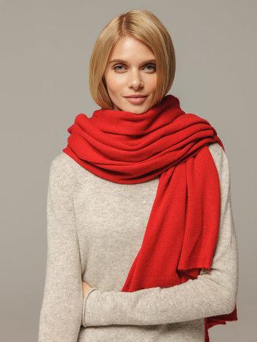 Женский шарф красного цвета из 100% кашемира - фото 2