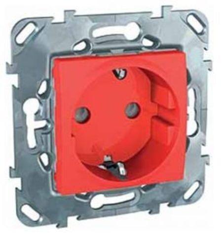 Розетка с заземлением, со шторками 16А. Цвет Красный. Schneider electric Unica. MGU5.037.03ZD
