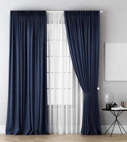 Комплект штор и тюль Грета синий