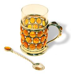 """Набор для чая """"Янтарный"""" с подстаканником"""
